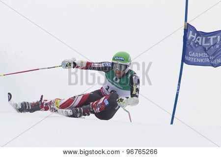 GARMISCH PARTENKIRCHEN, GERMANY. Feb 18 2011: Bode Miller (USA) competing in the mens giant slalom race on the Kandahar race piste at the 2011 Alpine skiing World Championships