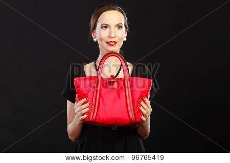 Retro Stylish Woman With Red Handbag