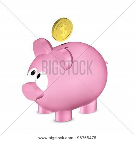 Piggy Bank With Dollar Coin Isolated Over White