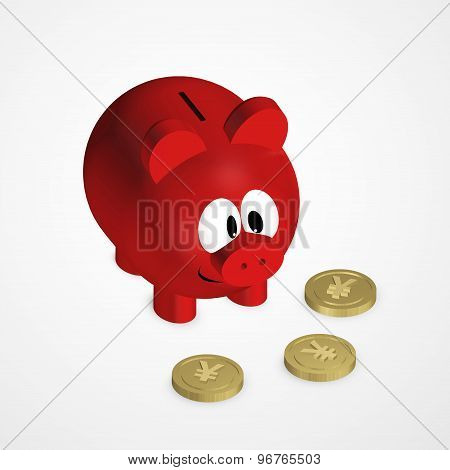 Piggy Bank With Yuan Coins Over Bright Background