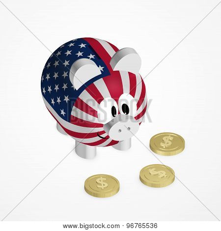 Piggy Bank With American Flag And Dollar Coins