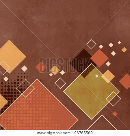 Brown, tan squares background pattern in retro style