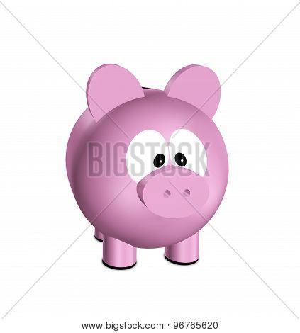 Pink Piggy Bank Isolated Over White Background