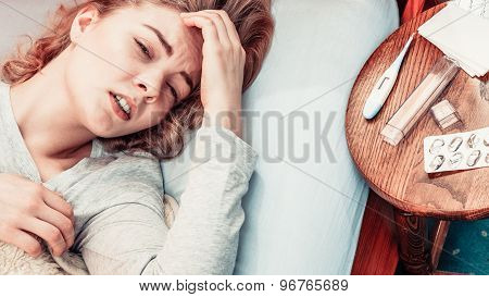 Sick Woman Suffering From Headache Pain.