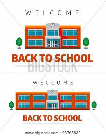 School building with slogan