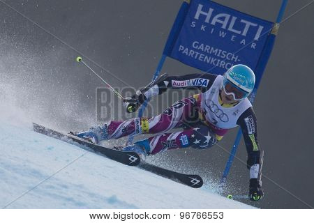 GARMISCH PARTENKIRCHEN, GERMANY. Feb 17 2011: MANCUSO Julia (USA) competing in the women's giant slalom  race  at the 2011 Alpine skiing World Championships