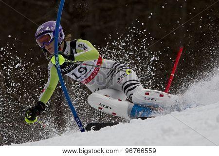 GARMISCH PARTENKIRCHEN, GERMANY. Feb 11 2011: Maria Riesch (GER) competing in the women's slalom at the 2011 Alpine skiing World Championships.