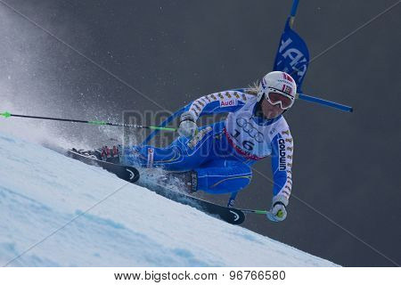 GARMISCH PARTENKIRCHEN, GERMANY. Feb 17 2011: PAERSON Anja (SWE) competing in the women's giant slalom  race  at the 2011 Alpine skiing World Championships