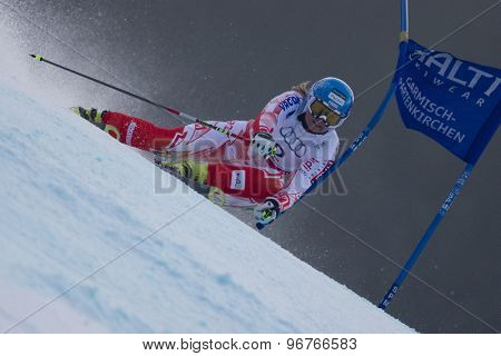 GARMISCH PARTENKIRCHEN, GERMANY. Feb 17 2011: POUTIAINEN Tanja (FIN) competing in the women's giant slalom  race  at the 2011 Alpine skiing World Championships