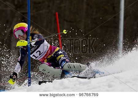 GARMISCH PARTENKIRCHEN, GERMANY. Feb 11 2011: Julia Mancuso (USA) competing in the women's slalom at the 2011 Alpine skiing World Championships.