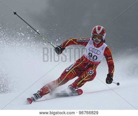 GARMISCH PARTENKIRCHEN, GERMANY. Feb 17 2011: QIN Xiyue (CHN) competing in the women's giant slalom  race  at the 2011 Alpine skiing World Championships