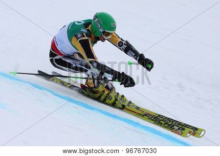 GARMISCH PARTENKIRCHEN, GERMANY. Feb 17 2011: Marc Poccard (AUS) competing in the mens giant slalom qualification race on the Hausberg piste at the 2011 Alpine skiing World Championships
