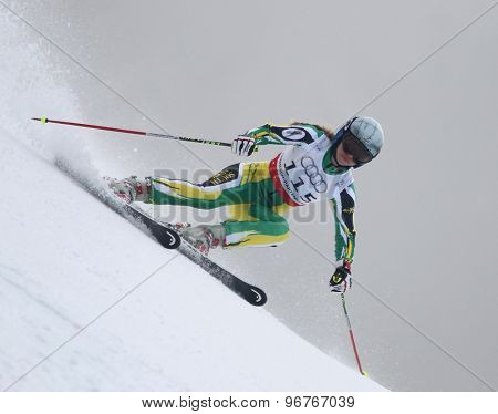 GARMISCH PARTENKIRCHEN, GERMANY. Feb 17 2011: BAUER Laura (RSA) competing in the women's giant slalom  race  at the 2011 Alpine skiing World Championships
