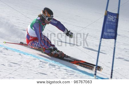 GARMISCH PARTENKIRCHEN, GERMANY. Feb 17 2011: Noel Baxter (GBR) competing in the mens giant slalom qualification race on the Hausberg piste at the 2011 Alpine skiing World Championships
