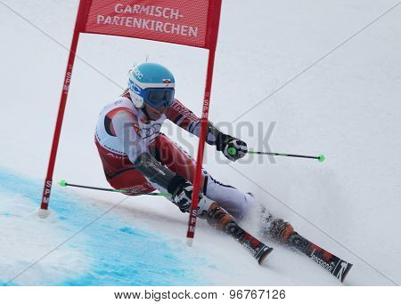 GARMISCH PARTENKIRCHEN, GERMANY. Feb 17 2011: GASIENICA DANIEL Agnieszka (POL) competing in the women's giant slalom  race  at the 2011 Alpine skiing World Championships