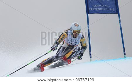GARMISCH PARTENKIRCHEN, GERMANY. Feb 17 2011: CHRYSTAL Lavinia (AUS) competing in the women's giant slalom  race  at the 2011 Alpine skiing World Championships