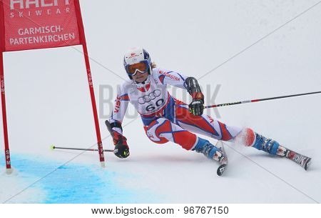 GARMISCH PARTENKIRCHEN, GERMANY. Feb 17 2011: KMOCHOVA Tereza (CZE) competing in the women's giant slalom  race  at the 2011 Alpine skiing World Championships