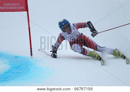 GARMISCH PARTENKIRCHEN, GERMANY. Feb 17 2011: Karolina Chrapek POL competing in the women's giant slalom  race  at the 2011 Alpine skiing World Championships