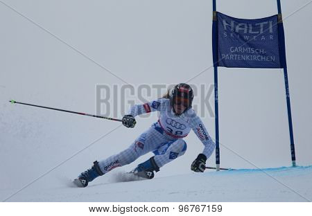 GARMISCH PARTENKIRCHEN, GERMANY. Feb 17 2011: BUEHLER Rebecca (LIE) competing in the women's giant slalom  race  at the 2011 Alpine skiing World Championships