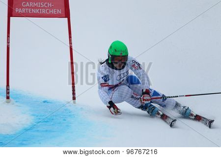 GARMISCH PARTENKIRCHEN, GERMANY. Feb 17 2011: SCHAEDLER Vanessa (LIE) competing in the women's giant slalom  race  at the 2011 Alpine skiing World Championships