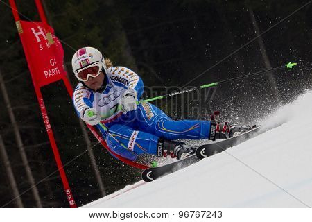 GARMISCH PARTENKIRCHEN, GERMANY. Feb 16 2011: Anja Paerson (SWE) competing in the team event a parallel slalom race  at the 2011 Alpine skiing World Championships