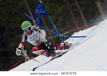 GARMISCH PARTENKIRCHEN, GERMANY. Feb 16 2011: Bode Miller (USA) competing in the team event a parallel slalom race  at the 2011 Alpine skiing World Championships