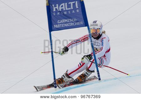 GARMISCH PARTENKIRCHEN, GERMANY. Feb 16 2011: Tessa Worley (FRA) competing in the team event a parallel slalom race  at the 2011 Alpine skiing World Championships