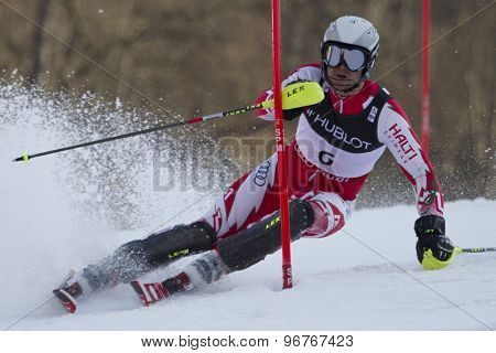 GARMISCH PARTENKIRCHEN, GERMANY. Feb 14 2011: Georgi Georgiev (BUL) competing in the men's slalom at the 2011 Alpine skiing World Championships