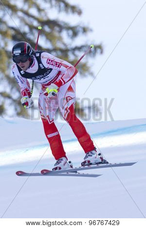 GARMISCH PARTENKIRCHEN, GERMANY. Feb 14 2011: Andreas Romar (FIN) takes to the air competing in the men's downhill at the 2011 Alpine skiing World Championships