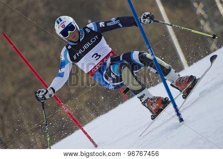 GARMISCH PARTENKIRCHEN, GERMANY. Feb 14 2011: Ferran Terra (SPA) competing in the men's slalom at the 2011 Alpine skiing World Championships