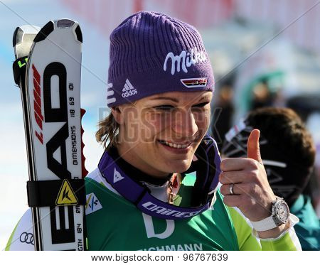 GARMISCH PARTENKIRCHEN, GERMANY. Feb 13 2011: Maria Riesch (GER) reacts in the finish area of the women's downhill race at the 2011 Alpine skiing World Championships