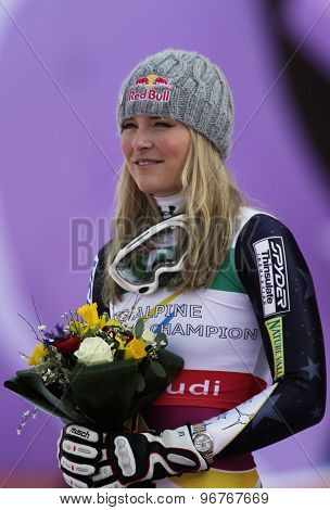 GARMISCH PARTENKIRCHEN, GERMANY. Feb 13 2011: Lindsey Vonn (USA) in the finish area of the women's downhill race at the 2011 Alpine skiing World Championships