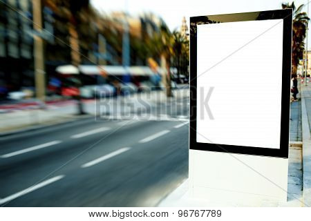 Blank billboard with copy space for your text message or content outdoors in the city
