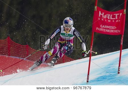 GARMISCH PARTENKIRCHEN, GERMANY. Feb 13 2011: Lindsey Vonn (USA) speeds down the course competing in the women's downhill race at the 2011 Alpine skiing World Championships