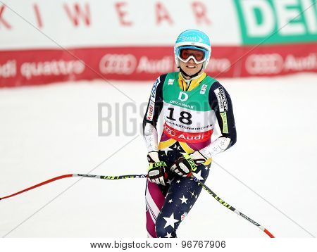 GARMISCH PARTENKIRCHEN, GERMANY. Feb 13 2011: Julia Mancuso (USA) reacts in the finish area of the women's downhill race at the 2011 Alpine skiing World Championships