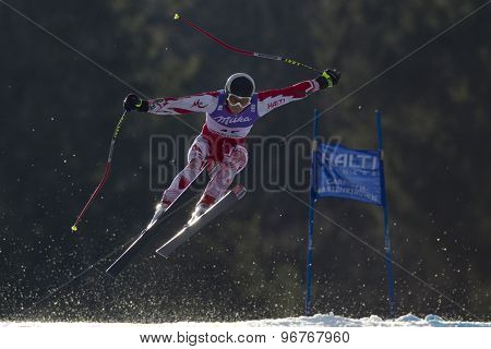 GARMISCH PARTENKIRCHEN, GERMANY. Feb 12 2011: Georgi Georgiev (BUL) takes to the air competing in the men's downhill at the 2011 Alpine skiing World Championships