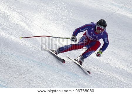 GARMISCH PARTENKIRCHEN, GERMANY. Feb 12 2011: TJ Baldwin (GBR) lands a jump competing in the men's downhill at the 2011 Alpine skiing World Championships