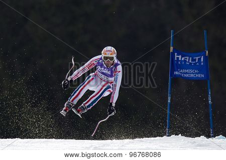 GARMISCH PARTENKIRCHEN, GERMANY. Feb 12 2011: Guillermo Fayed (FRA) takes to the air competing in the men's downhill at the 2011 Alpine skiing World Championships