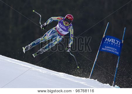 GARMISCH PARTENKIRCHEN, GERMANY. Feb 12 2011: Andrej Sporn (SLO) takes to the air competing in the men's downhill at the 2011 Alpine skiing World Championships