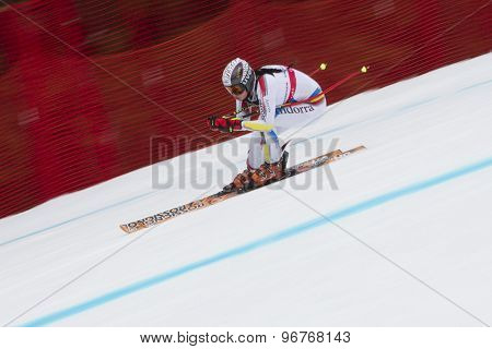 GARMISCH PARTENKIRCHEN, GERMANY. Feb 11 2011: Mireia Gutierrez (AND) competing in the women's downhill race on the Kandahar race piste at the 2011 Alpine skiing World Championships