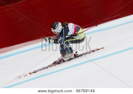 GARMISCH PARTENKIRCHEN, GERMANY. Feb 11 2011: Lotte-Smiseth Sejersted (NOR) competing in the women's downhill race on the Kandahar race piste at the 2011 Alpine skiing World Championships