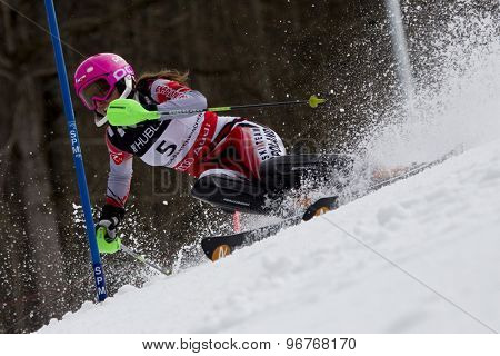 GARMISCH PARTENKIRCHEN, GERMANY. Feb 11 2011: Agnieszka Gasienica Daniel (POL) competing in the women's slalom at the 2011 Alpine skiing World Championships.