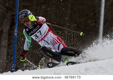 GARMISCH PARTENKIRCHEN, GERMANY. Feb 11 2011: Edit Miklos (HUN) competing in the women's slalom at the 2011 Alpine skiing World Championships.
