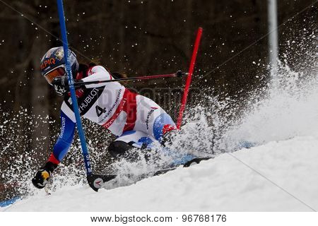 GARMISCH PARTENKIRCHEN, GERMANY. Feb 11 2011: Dominique Gisin (SUI) competing in the women's slalom at the 2011 Alpine skiing World Championships.