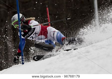 GARMISCH PARTENKIRCHEN, GERMANY. Feb 11 2011: Denise Feierabend (SUI) competing in the women's slalom at the 2011 Alpine skiing World Championships.