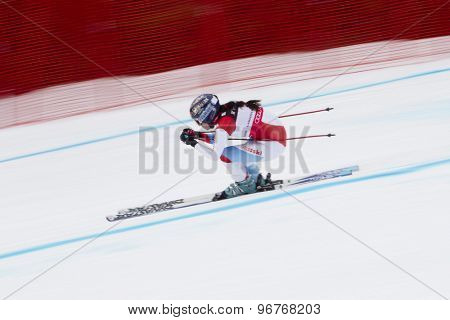 GARMISCH PARTENKIRCHEN, GERMANY. Feb 11 2011: Dominique Gisin (SUI) competing in the women's downhill race on the Kandahar race piste at the 2011 Alpine skiing World Championships