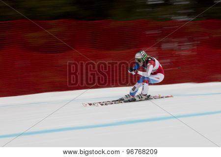 GARMISCH PARTENKIRCHEN, GERMANY. Feb 11 2011: Lara Gut (SUI) competing in the women's downhill race on the Kandahar race piste at the 2011 Alpine skiing World Championships
