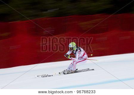 GARMISCH PARTENKIRCHEN, GERMANY. Feb 11 2011: Anna Fenninger (AUT) speeds down the course competing in the women's downhill at the 2011 Alpine skiing World Championships.
