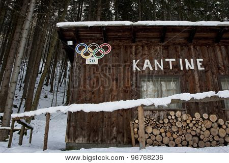 GARMISCH PARTENKIRCHEN, GERMANY. Feb 01 2011: Preview images for the 2011 Alpine skiing World Championships. A cafe left over from the 1936 Olympics at the finish area of the old bobsledge course