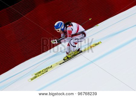 GARMISCH PARTENKIRCHEN, GERMANY. Feb 11 2011:Karolina Chrapek POL  competing in the women's downhill  at the 2011 Alpine skiing World Championships.
